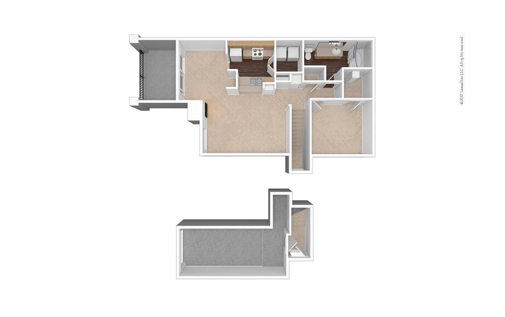 A2 1 Bed 1 Bath Unfurnished Floorplan
