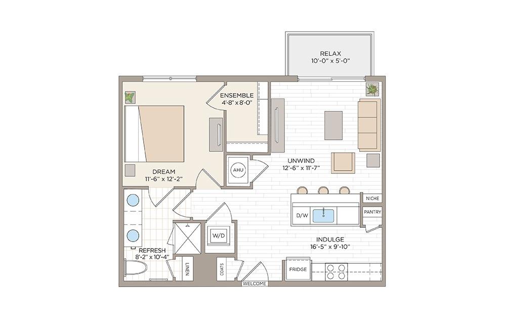 Church 1 bedroom 1 bath 711 square feet