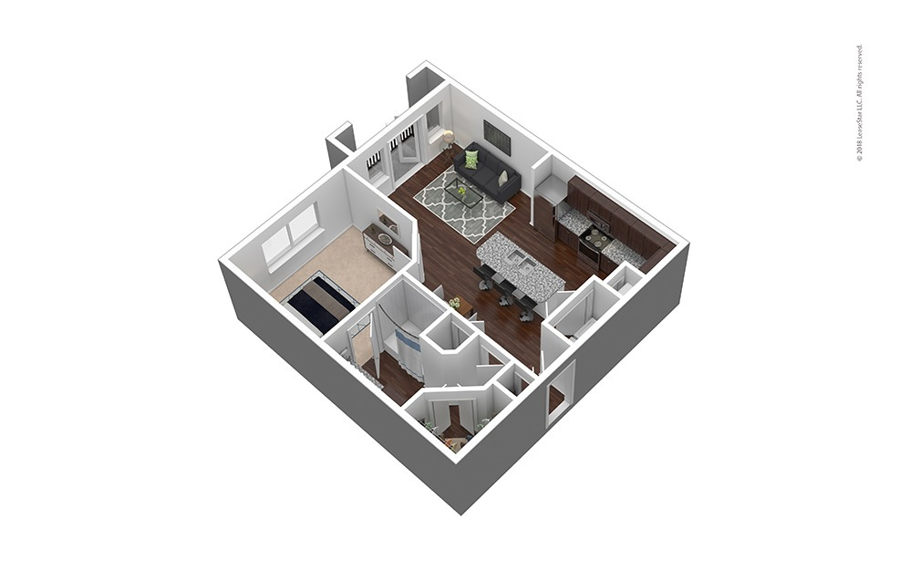 A3 1 bed 1 bath 719 sq. ft.