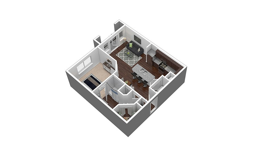 A3 1 bed 1 bath 729 sq. ft.