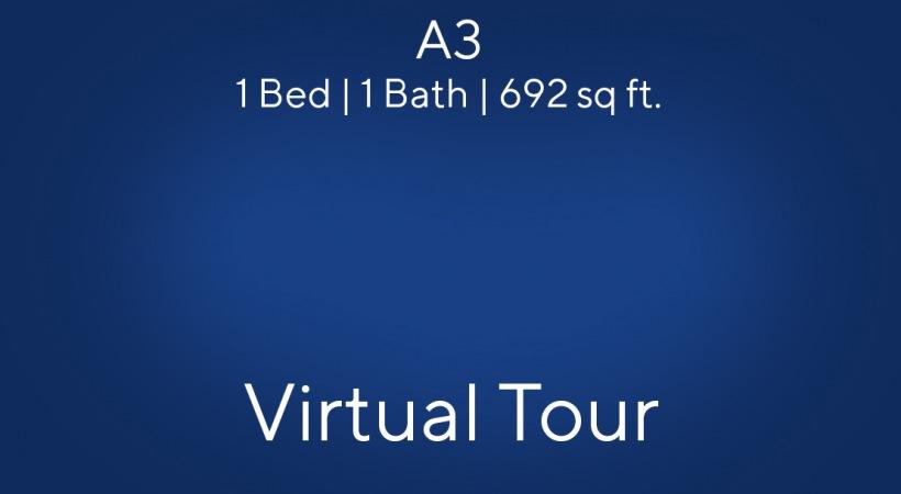 A3 Virtual Tour Floor Plan, 1bed/1bath, 692 sq. ft.