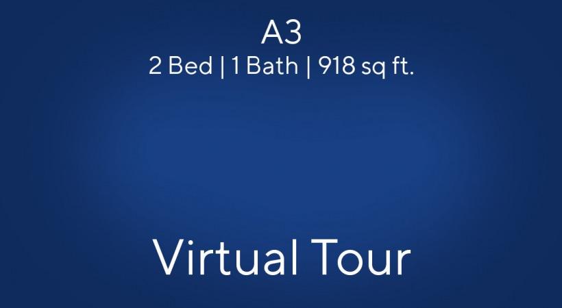 A3 floor plan, 2bed/1bath, 918 sq. ft.