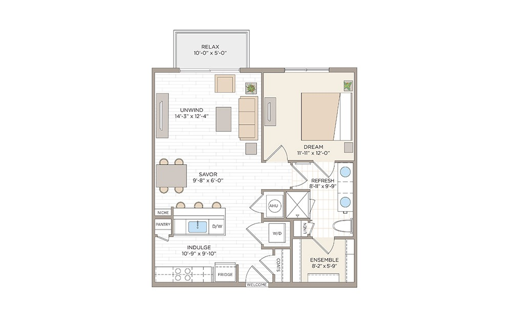 Ferncreek 1 bedroom 1 bath 783 square feet