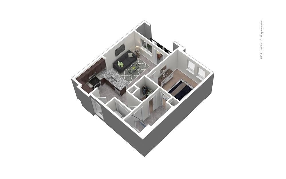 A3 1 Bed 1 Bath Furnished Floorplan