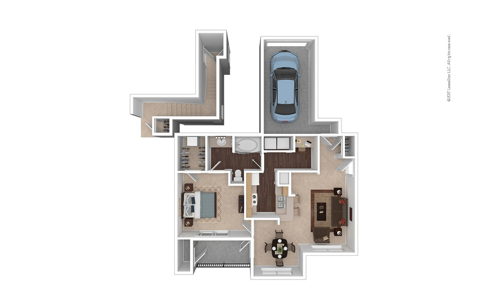 A3 1 Bed 1 Bath Furnished Floorplan