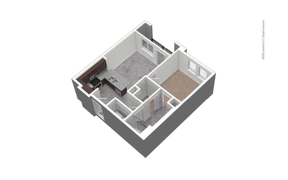 A3 1 Bed 1 Bath Unfurnished Floorplan