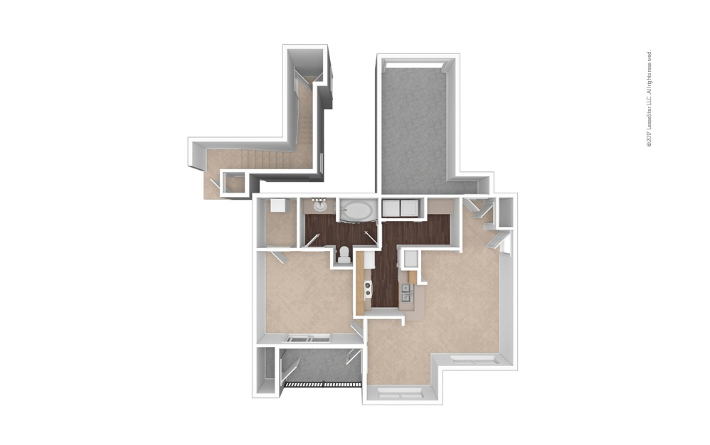 A3 1 Bed 1 Bath Unfurnished Floorplan