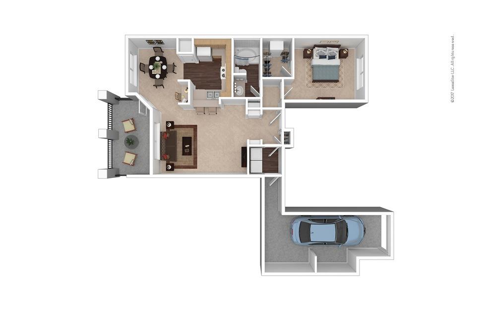 A4 1 Bed 1 Bath Furnished Floorplan
