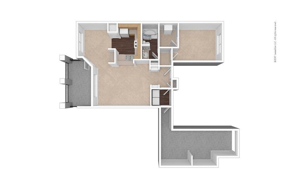 A4 1 Bed 1 Bath Unfurnished Floorplan