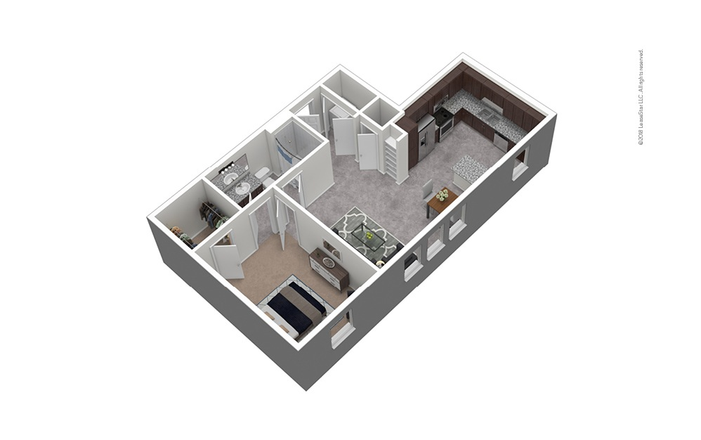 A5 1 Bed 1 Bath Furnished Floorplan