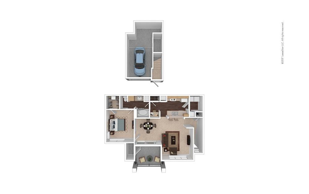 A5 1 Bed 1 Bath Furnished Floorplan