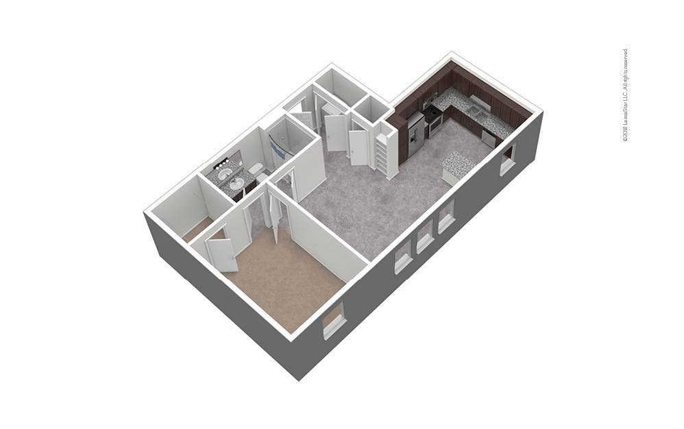A5 1 Bed 1 Bath Unfurnished Floorplan