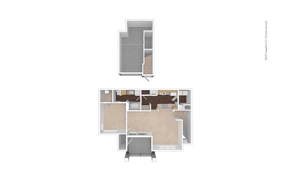 A5 1 Bed 1 Bath Unfurnished Floorplan