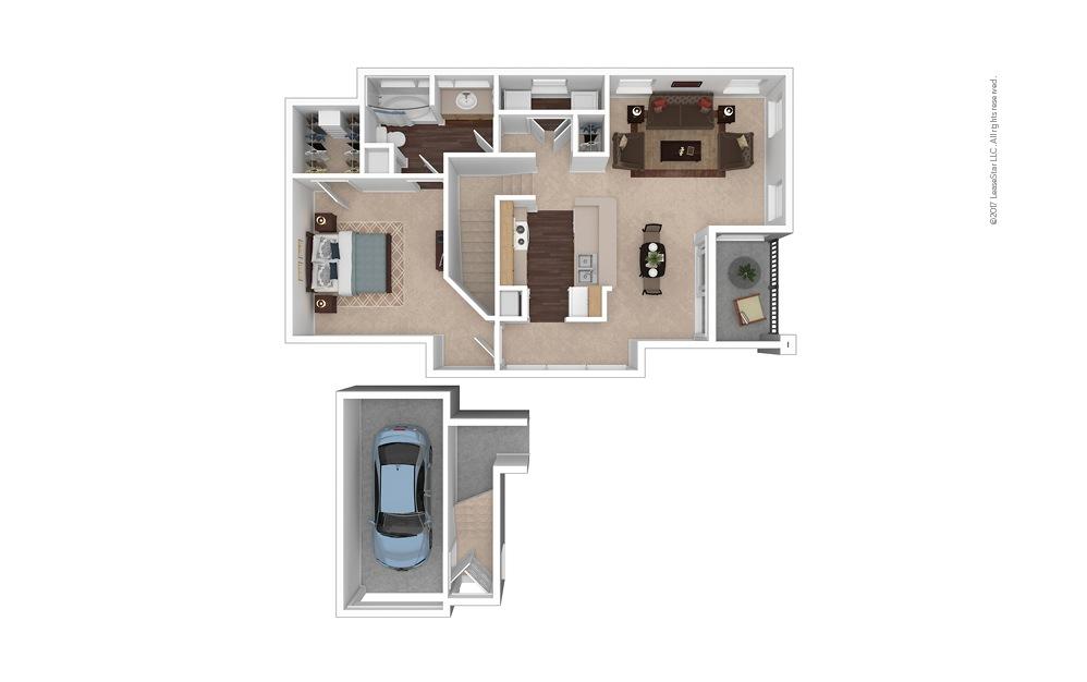 A6 1 Bed 1 Bath Furnished Floorplan