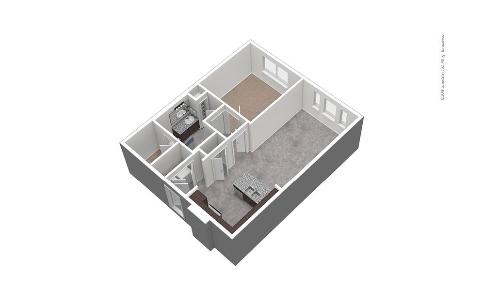 A6 1 Bed 1 Bath Unfurnished Floorplan