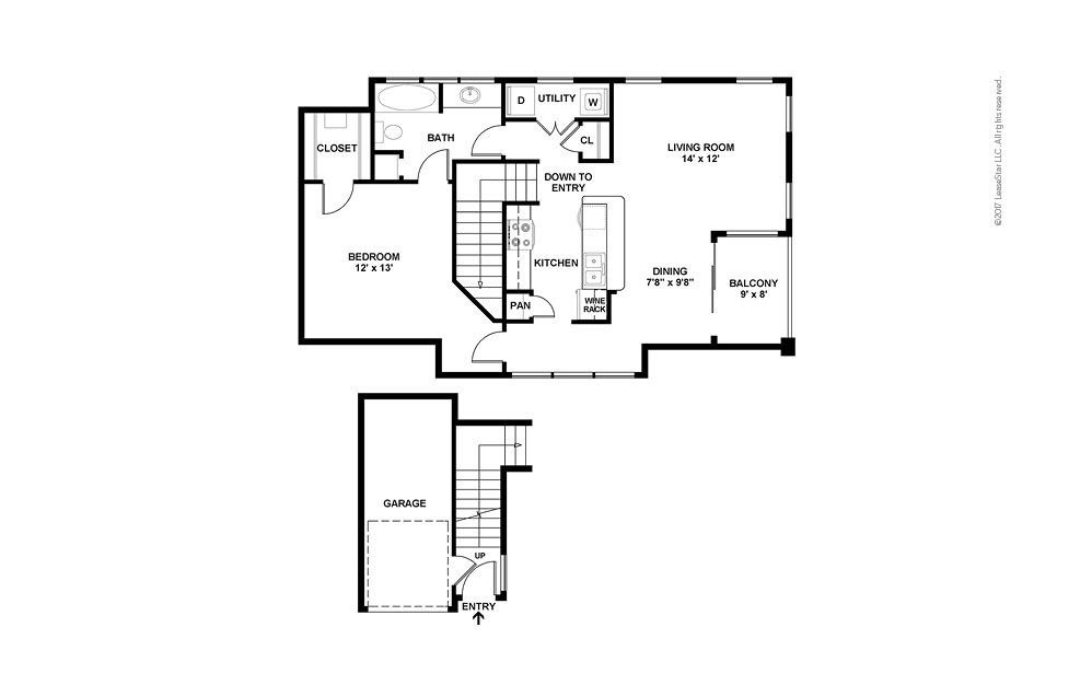 A6 1 Bed 1 Bath Floorplan