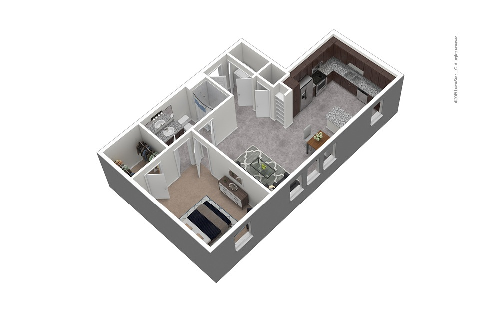 A7 1 Bed 1 Bath Furnished Floorplan
