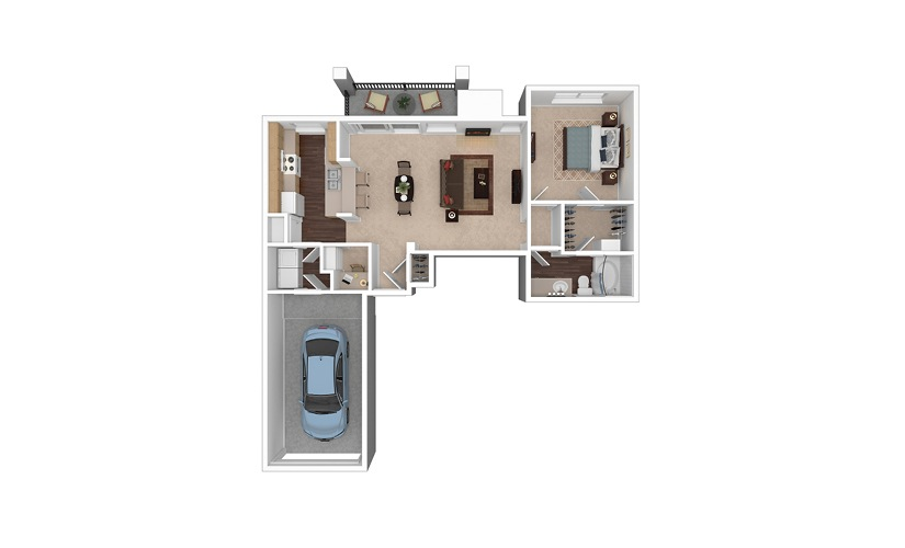 A7 1 Bed 1 Bath Floorplan