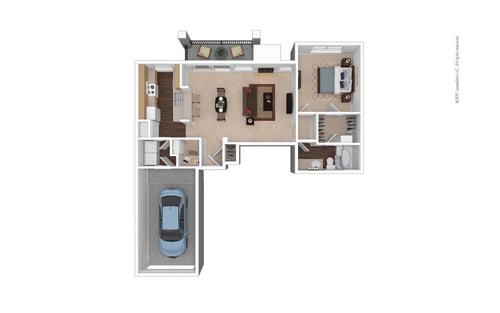 A7 1 Bed 1 Bath Furnished Floorplan