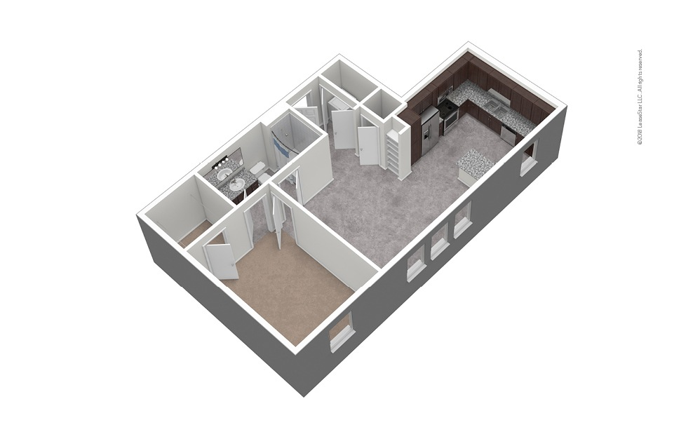 A7 1 Bed 1 Bath Unfurnished Floorplan