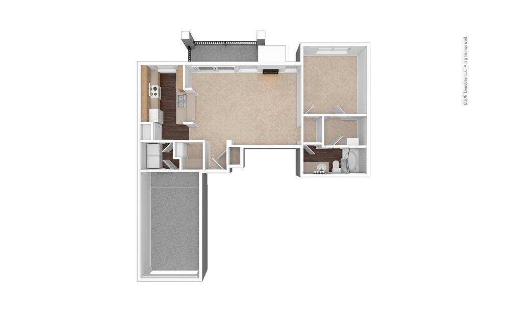 A7 1 Bed 1 Bath Unfurnished Floorplan