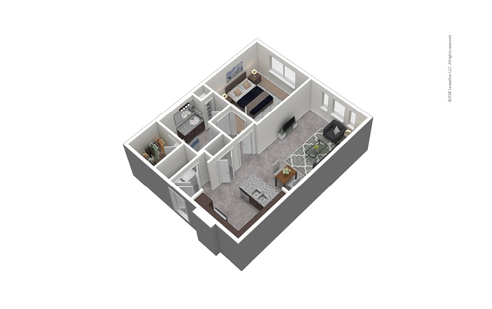 A8 1 Bed 1 Bath Furnished Floorplan