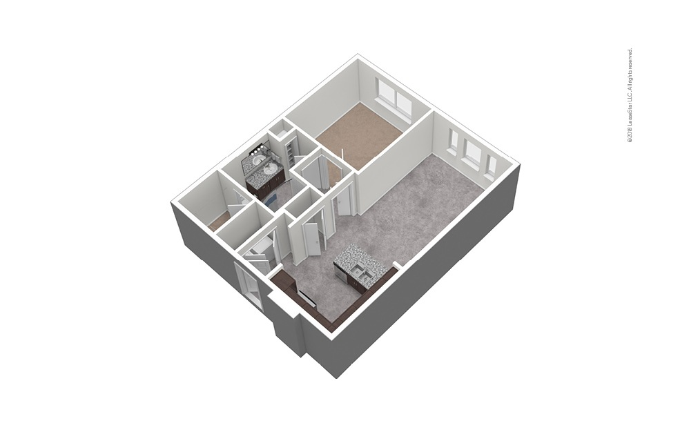 A8 1 Bed 1 Bath Unfurnished Floorplan