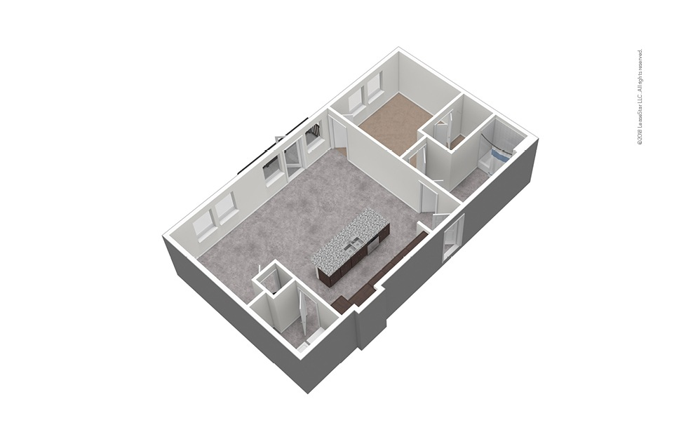 A9 1 Bed 1 Bath Unfurnished Floorplan