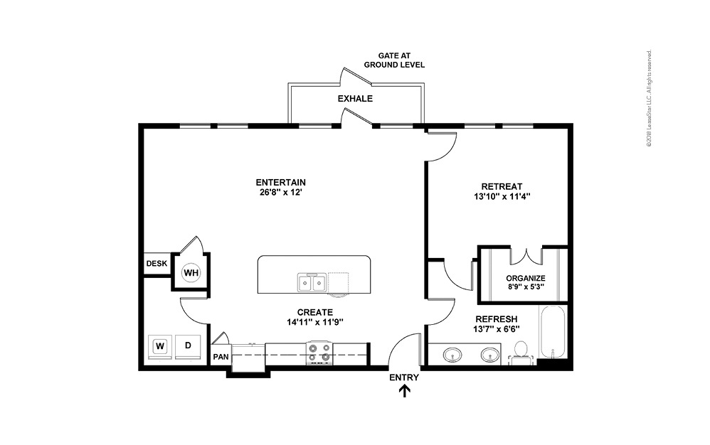 A9 1 Bed 1 Bath Floorplan