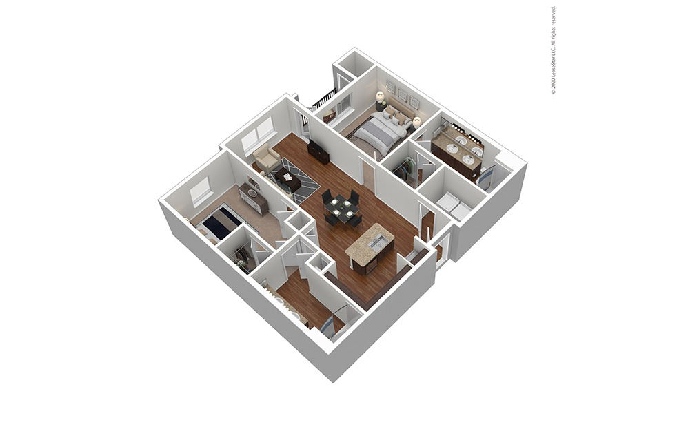 Furnished B1 Floor Plan Rendering