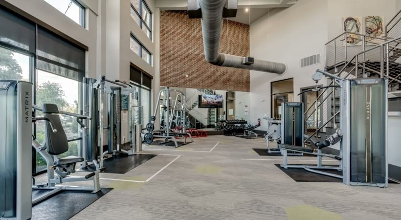 Our luxury apartment gym with 24/7 residential access and modern loft design at Circa Verus Frisco