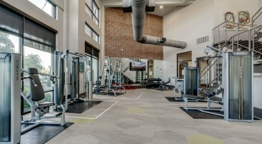 Our Frisco apartment gym with updated equipment