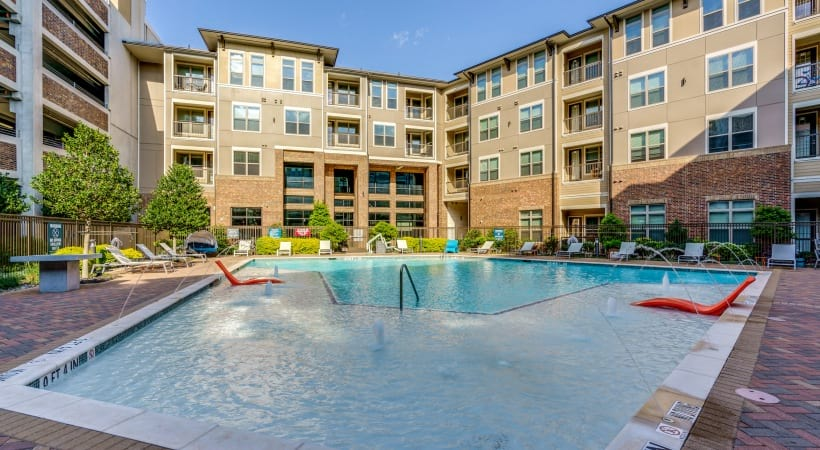 Our resort-style pool and sundeck at our luxury apartments in Frisco, TX
