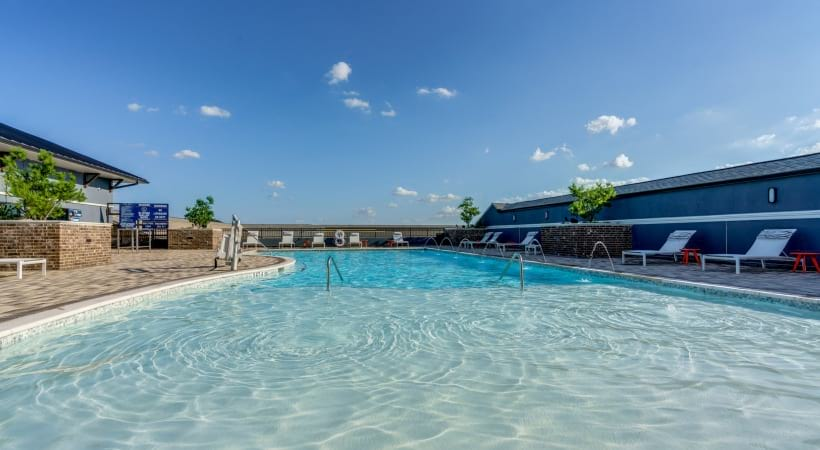 Our rooftop saltwater pool with sundecks at our luxury apartments in Frisco, TX