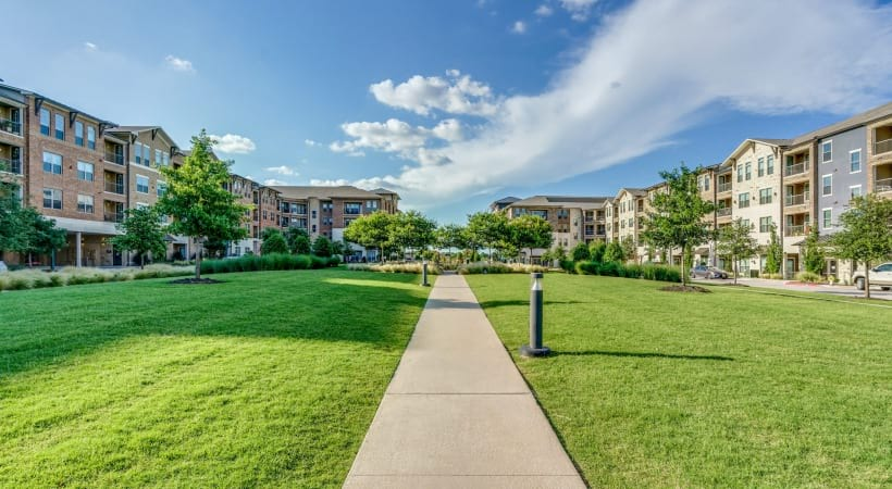 Walking path of Circa Verus Frisco overlooking Circa and Verus apartments near Shops at Legacy