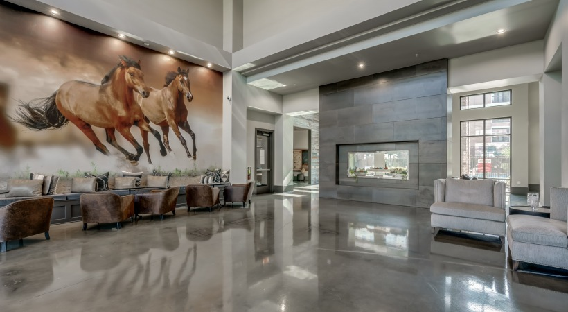Spacious leasing office by Verus apartments in Frisco, TX with modern design