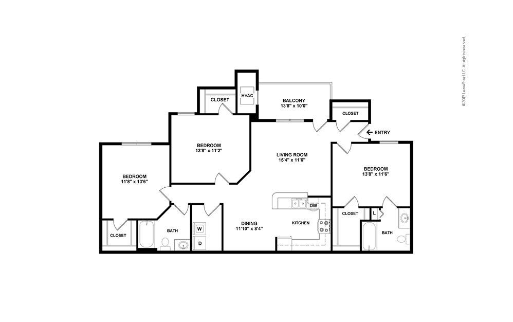 The Amsterdam 3 bedroom 2 bath 1467 square feet (2)