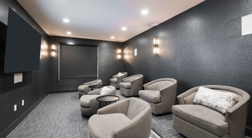 Movie theater room at luxury apartments in Fort Worth, TX