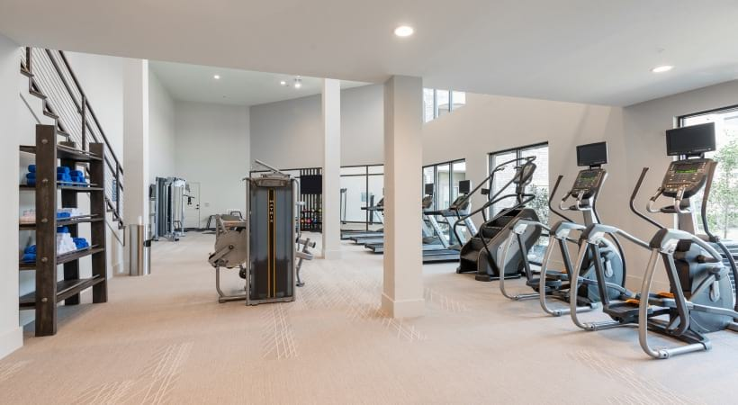 Fitness center at Fort Worth apartment complex