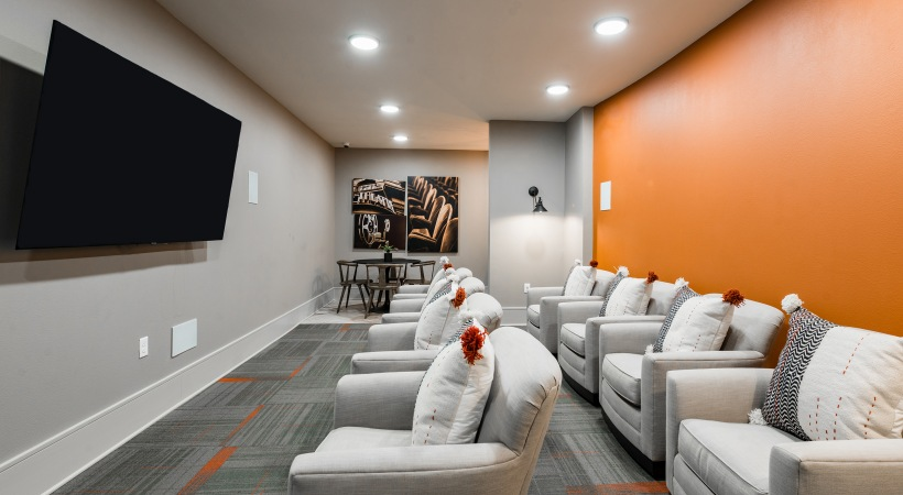 Movie theater at our Craig Ranch apartments in McKinney, TX
