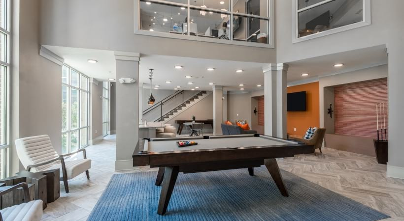 Pool table at our McKinney apartment clubhouse