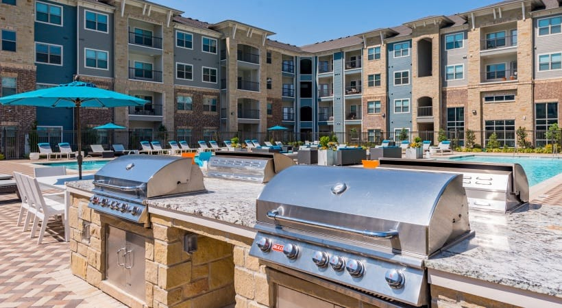 Outdoor grilling stations at our apartments in McKinney, TX