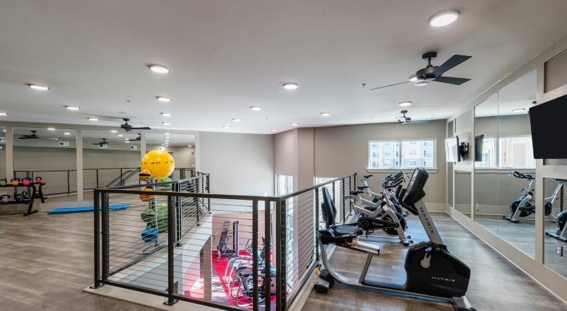 24/7 gym with spin studio at our modern apartments in McKinney, TX