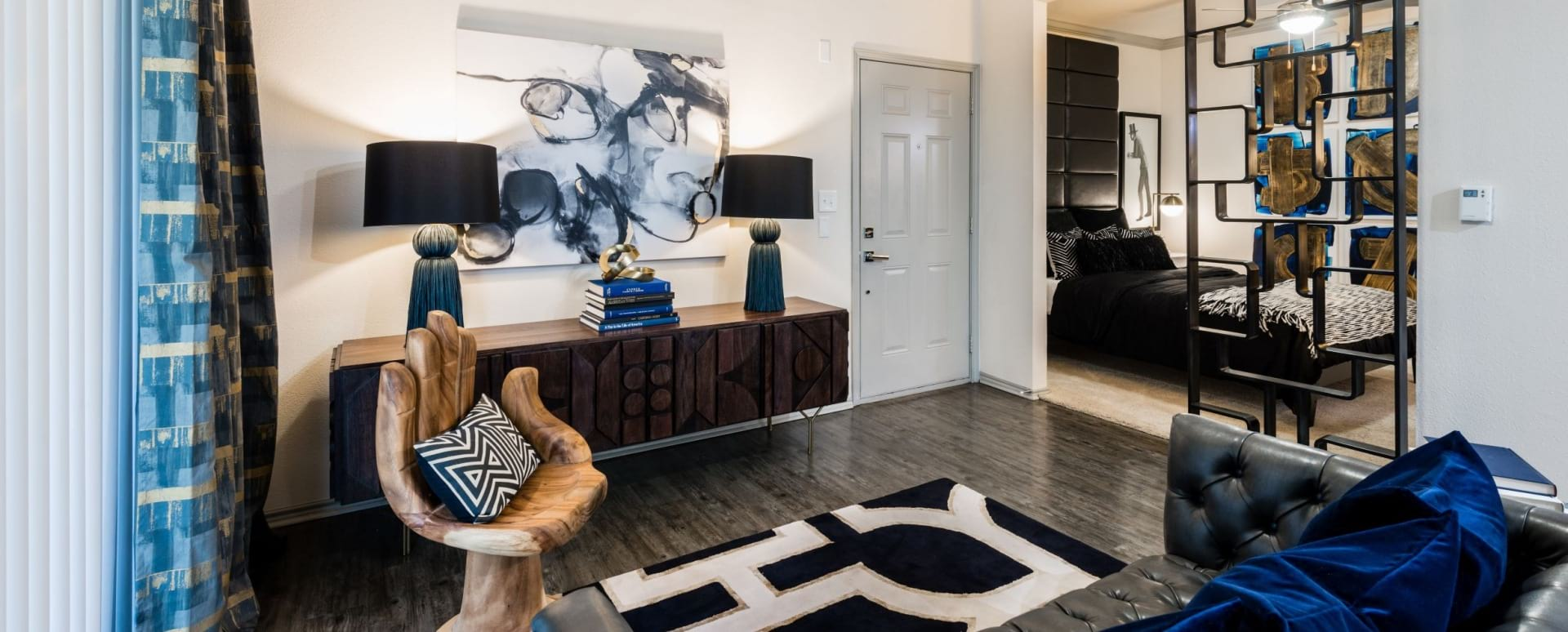 Modern apartment living room at Galleria Dallas apartments