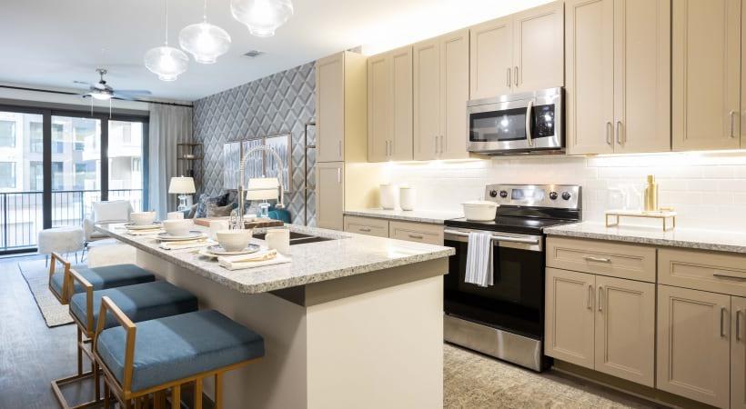 Spacious kitchen at Attiva Peachtree apartments