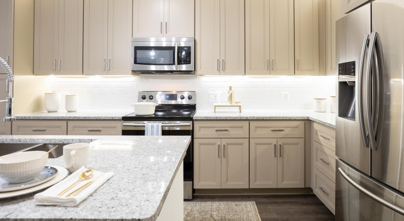 55 plus apartment kitchen with granite countertops