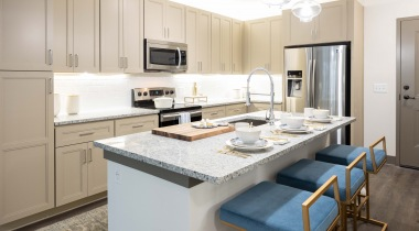 Active adult apartment with large kitchen island