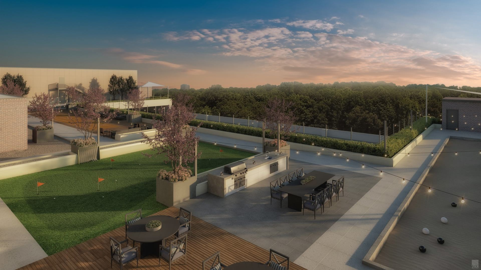 Rooftop Terrace and Game Courts at Attiva Peachtree