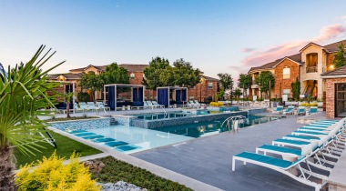 Resort-style pools at apartments in Fort Worth