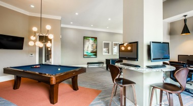 Resident Clubhouse with a Pool Table and Computer Monitors